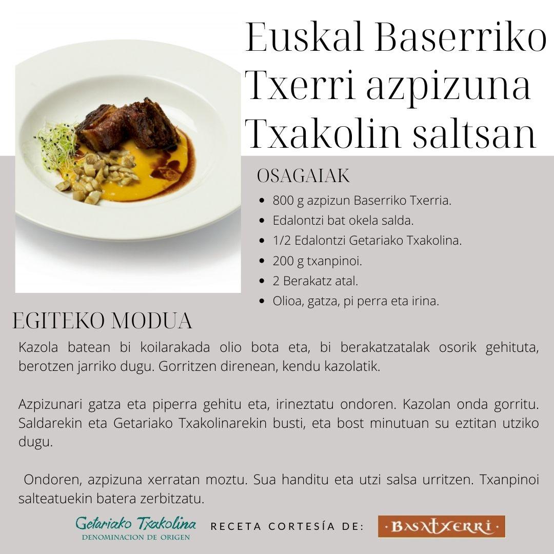 Euskal Baserriko Txerri azpizuna Txakolin saltsan